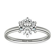 14k 白金六爪低圆拱内圈卜身设计单石订婚戒指<br>(2毫米)