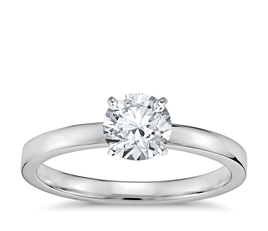 Low Dome Comfort Fit Solitaire Engagement Ring in 14k White Gold (2mm) 5999cd534c