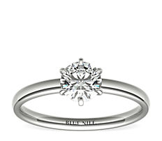 Six-Claw Low Dome Comfort Fit Solitaire Engagement Ring in 14k White Gold (2mm)