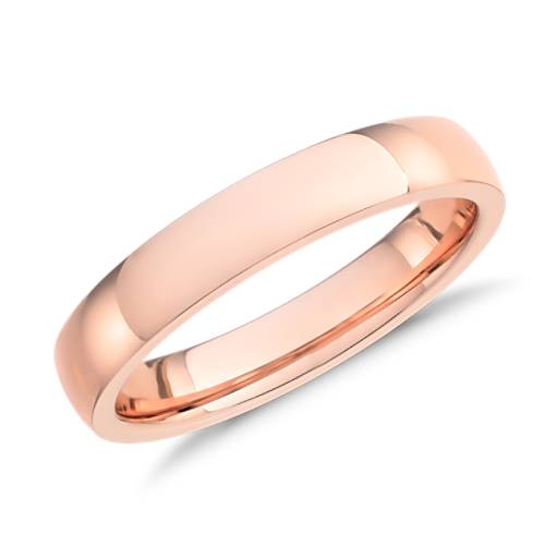Antique Style 4 2mm Platinum Men S Wedding Band With: Low Dome Comfort Fit Wedding Ring In 14k Rose Gold (4mm