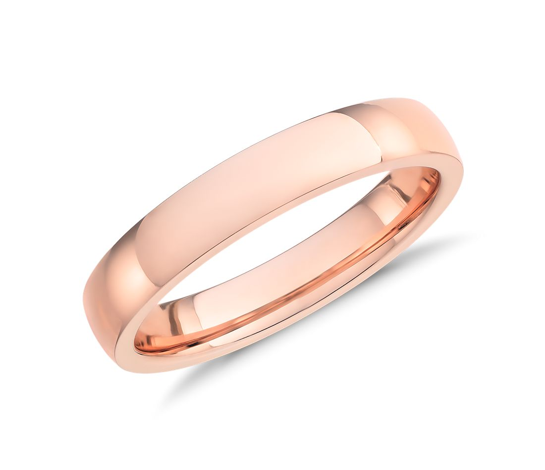 Low Dome Comfort Fit Wedding Ring in 14k Rose Gold (4mm)