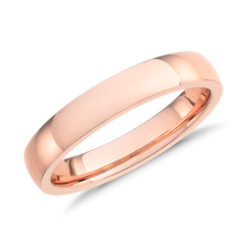 Alliance confort dôme simple en or rose 14 carats (4 mm)