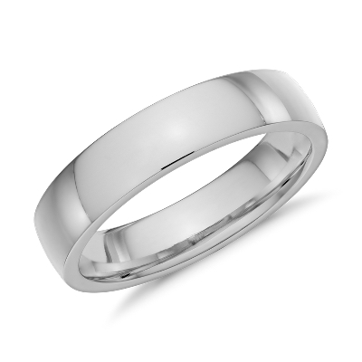 Low Dome Comfort Fit Wedding Ring in 14k White Gold 5mm Blue Nile