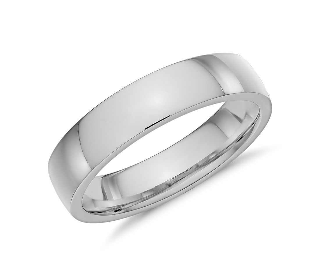 Alliance confort dôme simple en or blanc 14 carats (5 mm)