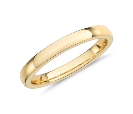 14k 金低圆顶内圈圆弧设计结婚戒指<br>(2.5毫米)