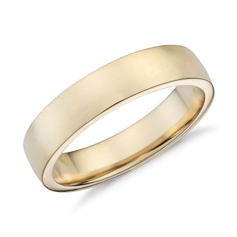 Low Dome Comfort Fit Wedding Ring in 14k Yellow Gold (5mm)