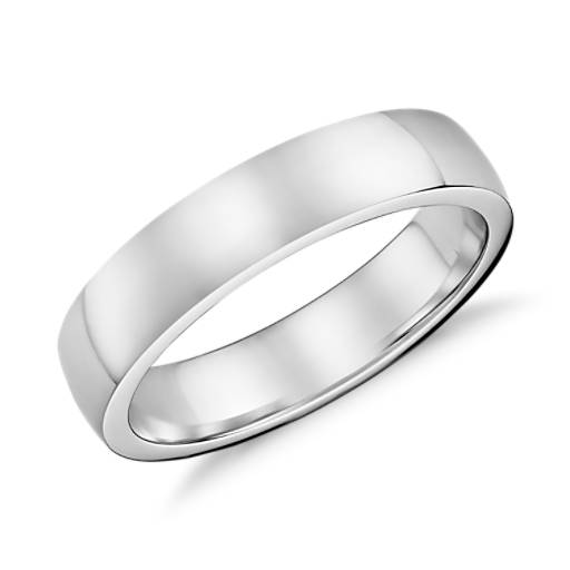 Low Dome Comfort Fit Wedding Ring In 18k White Gold 5mm