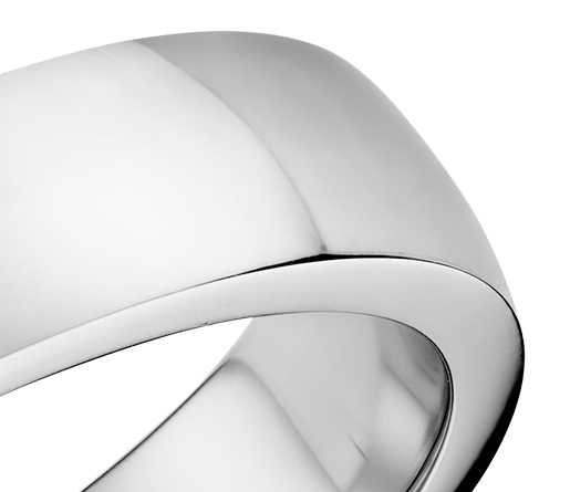 Alliance confort dôme simple en or blanc 18 carats (5 mm)