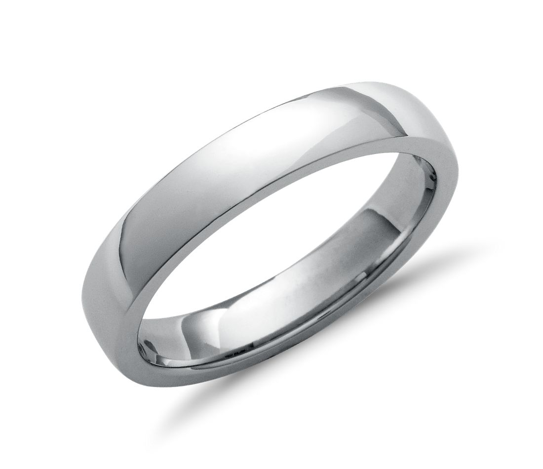 Low Dome Comfort Fit Wedding Ring In Platinum 4mm