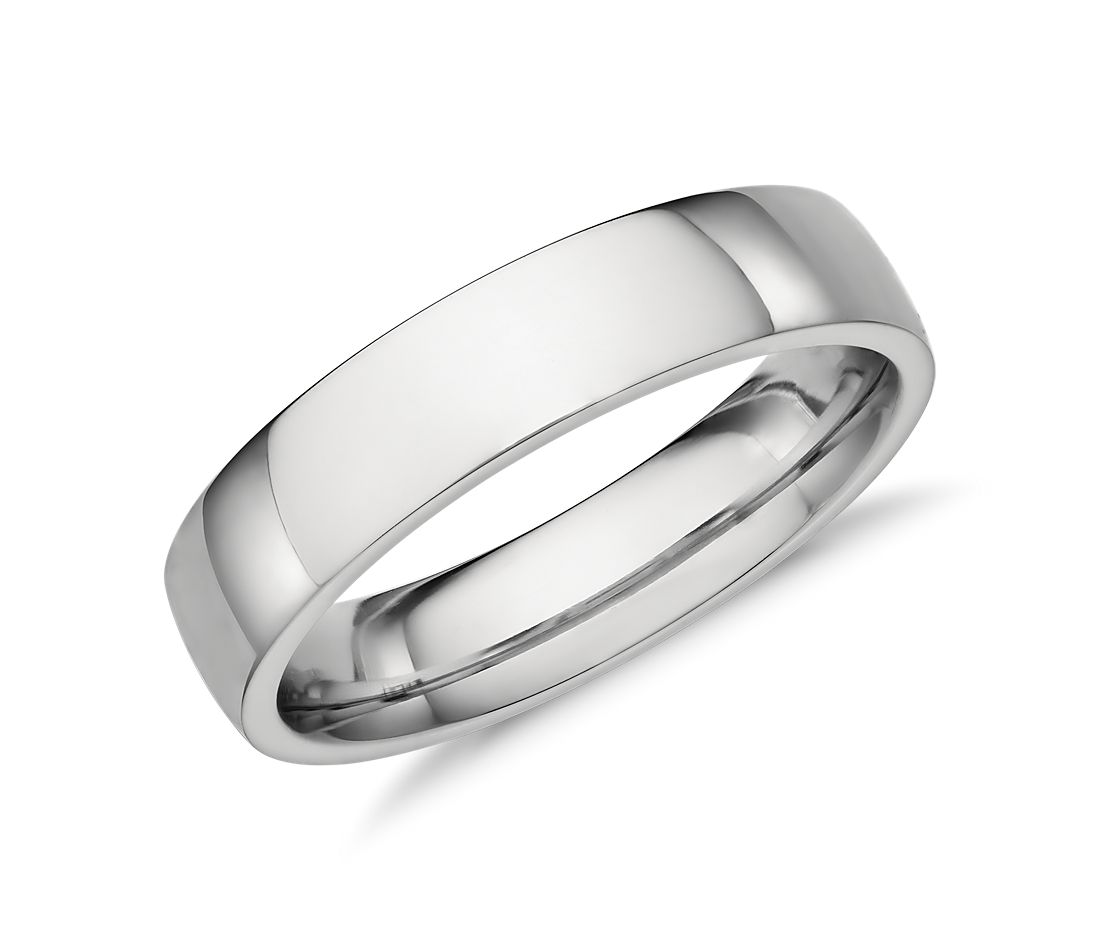 low dome comfort fit wedding ring in platinum 5mm - Flat Wedding Rings