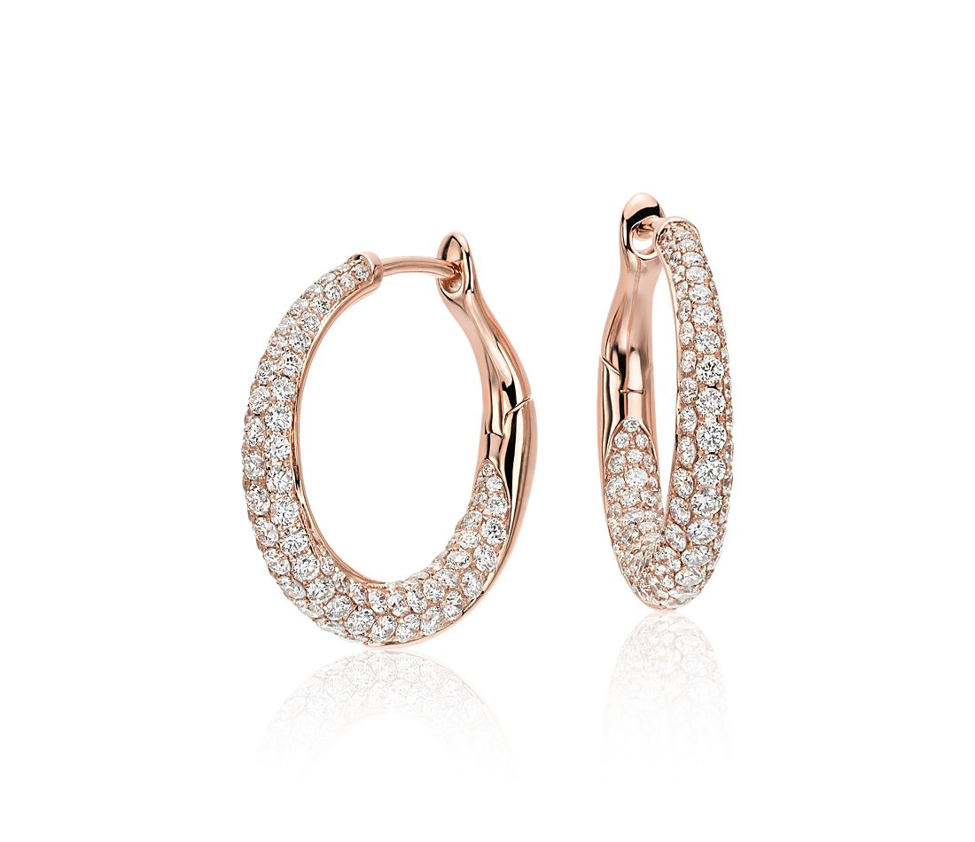 Lucille Diamond Rollover Hoop Earrings In 18k Rose Gold 2 Ct Tw