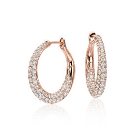 Aretes tipo argolla con diamantes superpuestos Lucille en oro rosado de 18k (2 qt. total)