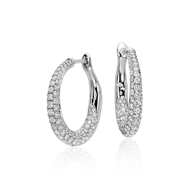 Lucille Diamond Rollover Hoop Earrings in 18k White Gold (2 ct. t