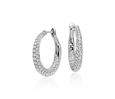 Lucille Diamond Rollover Hoop Earrings in 18k White Gold (2 ct. tw.)