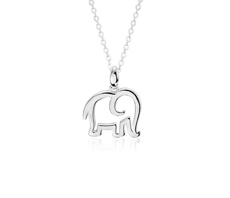 Lucky Elephant Charm Pendant in Sterling Silver