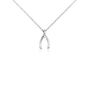 Lucky Wishbone Pendant in Sterling Silver