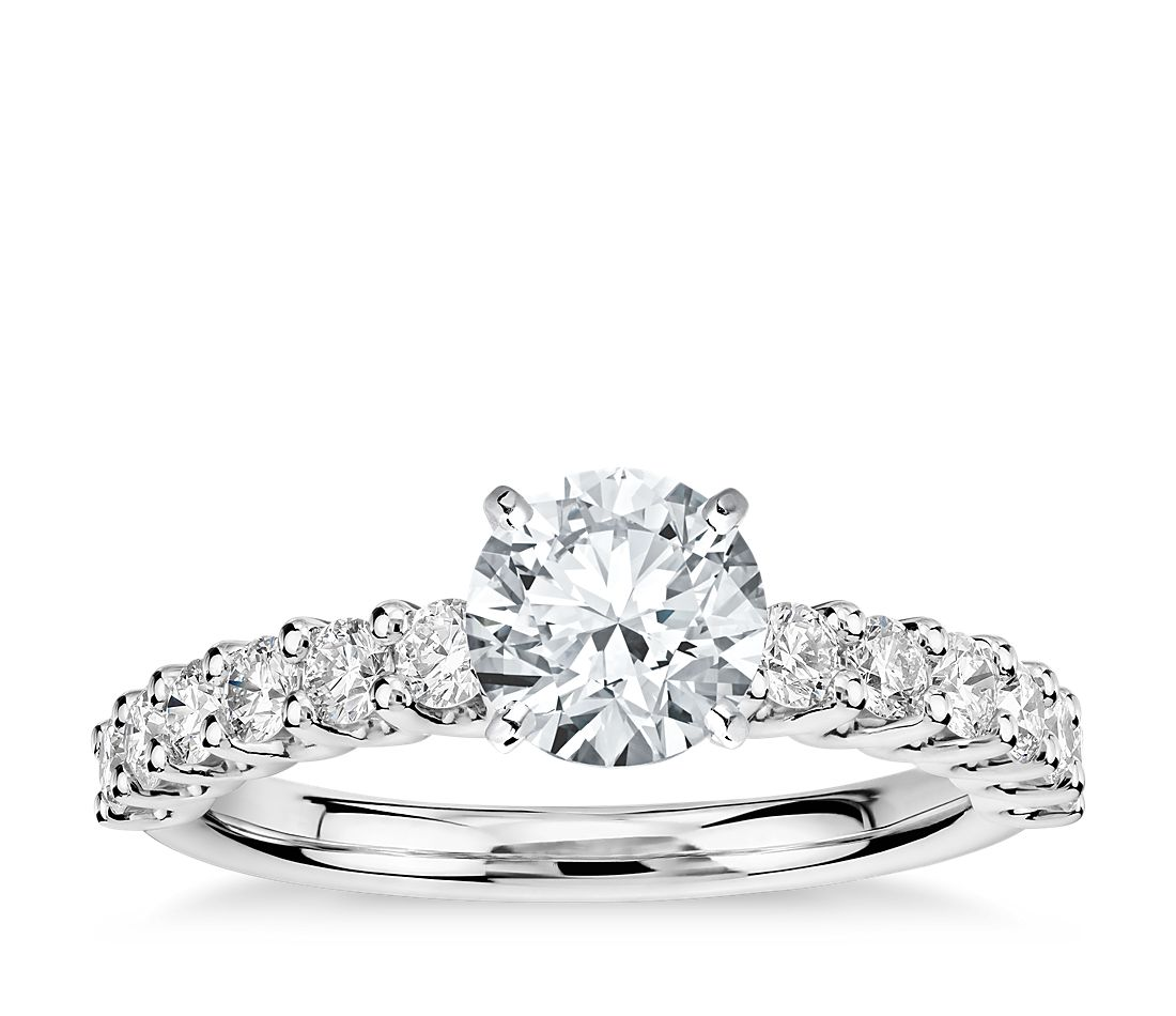 luna diamond engagement ring in platinum 12 ct tw - Silver Diamond Wedding Rings