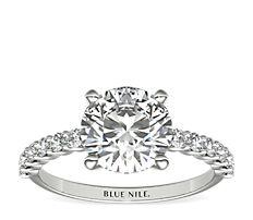 Petite bague de fiançailles diamant Luna en or blanc 14carats (0,31carat, poids total)