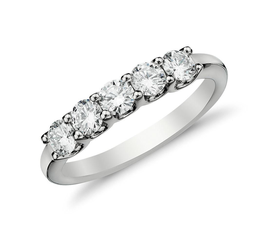 Luna Five Stone Diamond Ring in 14k White Gold (3/4 ct. tw.)