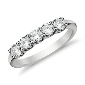 Luna Five-Stone Diamond Ring in 14k White Gold