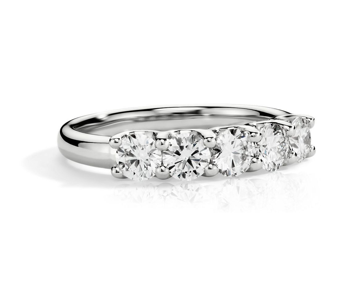 five ring in 14k white gold 1 ct tw