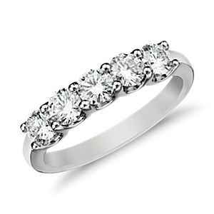 Anillo de cinco diamantes Luna en oro blanco de 14 k (1 qt. total)