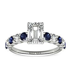 Luna Sapphire and Diamond Engagement Ring in Platinum (1/3 ct. tw.)