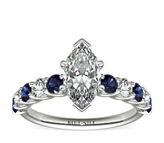 Luna Sapphire and Diamond Engagement Ring in Platinum