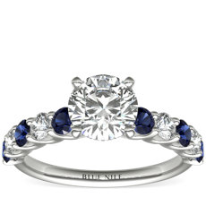Luna Sapphire and Diamond Engagement Ring in Platinum (1/3 ct. tw.)