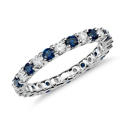 Luna Sapphire And Diamond Eternity Ring In 14k White Gold