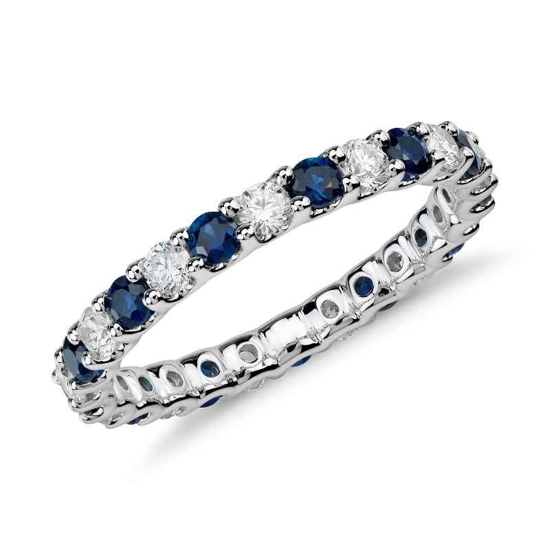 Luna Sapphire and Diamond Eternity Ring in 14k White Gold (5/8 ct