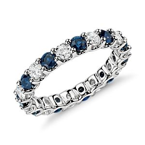 Anillo de eternidad Luna con  diamantes y zafiros en platino (1 qt. total)