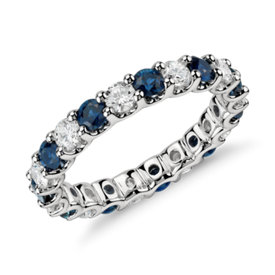 NEW Luna Sapphire and Diamond Eternity Ring in Platinum