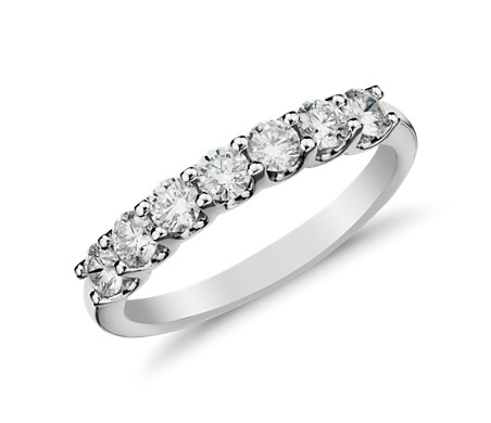 14k 白金 Luna 七石鑽石戒指<br>( 1/2 克拉總重量)