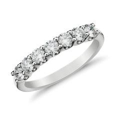 14k 白金 Luna 七石钻石戒指<br>(1/2 克拉总重量)