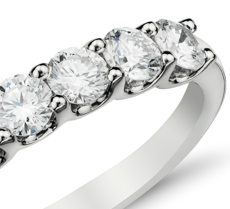 14k 白金 Luna 七石鑽石戒指( 1 克拉總重量)