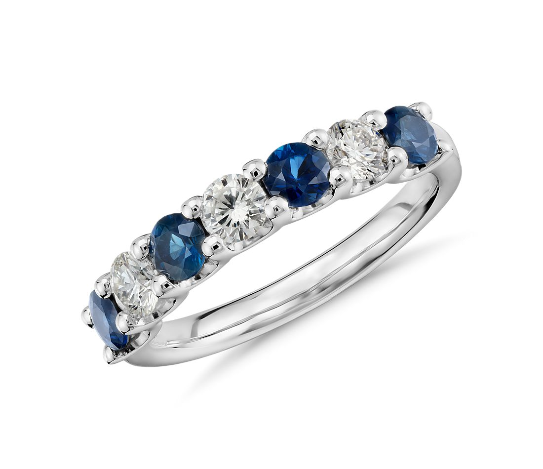 luna seven stone sapphire and diamond ring in platinum - Sapphire Wedding Rings