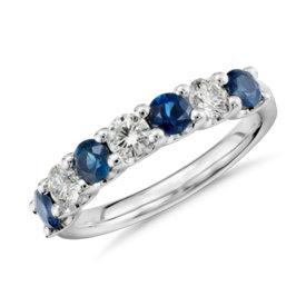 Bague diamant et saphir sept pierres en platine