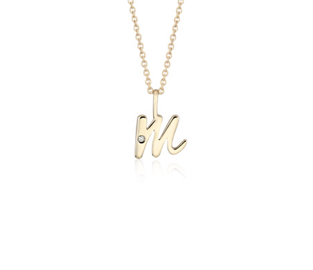 """M"" Mini Initial Pendant with Diamond Detail in 14k Yellow Gold"