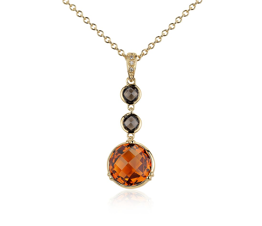 Madeira Citrine and Smoky Round Quartz Pendant in Gold Vermeil