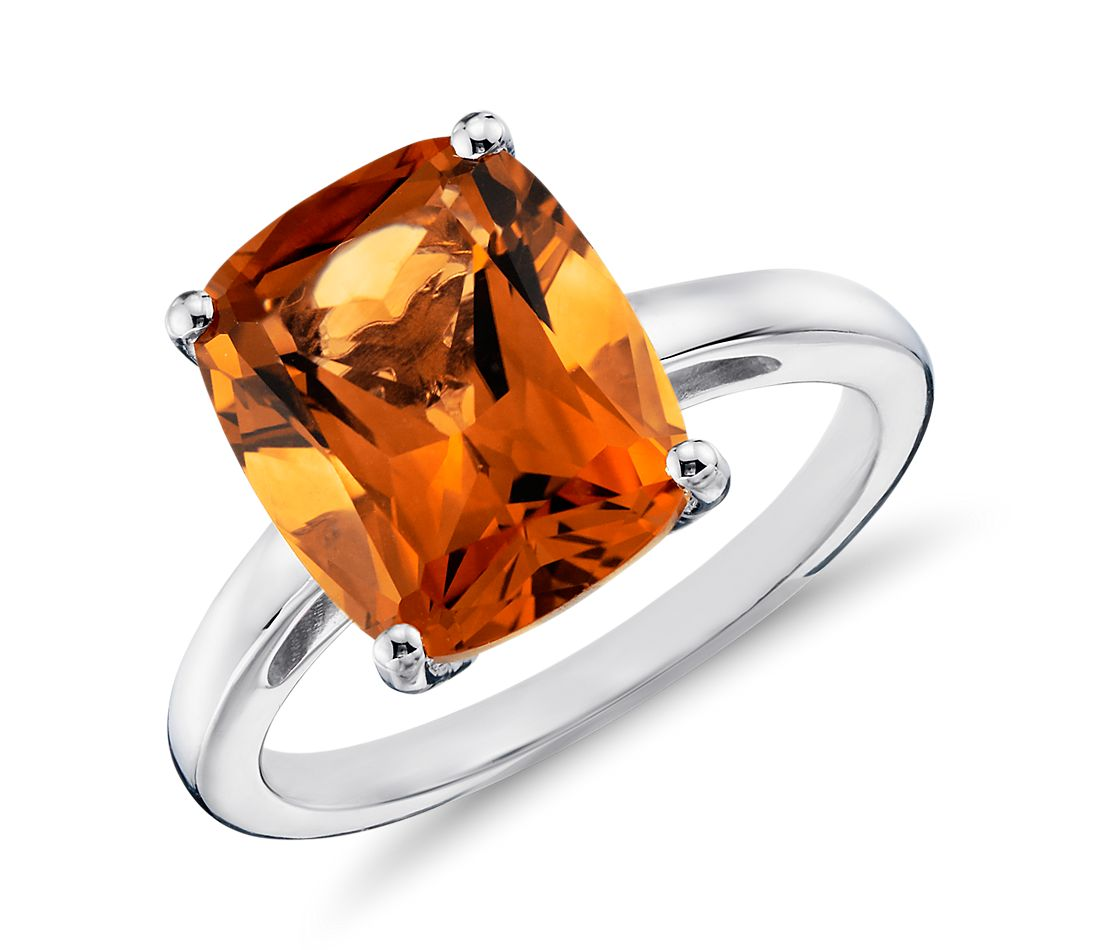 Madeira Citrine Cushion Cut Ring in Sterling Silver