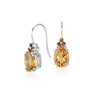 Citrine and Madeira Citrine Drop Earrings in Sterling Silver (9x7mm)