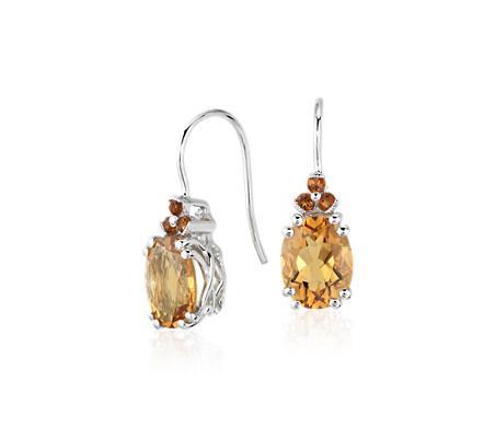 925 纯银黄水晶与 Madeira 黄水晶吊式耳环<br>(9x7毫米)