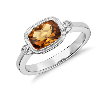 Blue Nile Corda Cushion-Cut Citrine Halo Ring in Sterling Silver (8mm) abEd3F1C