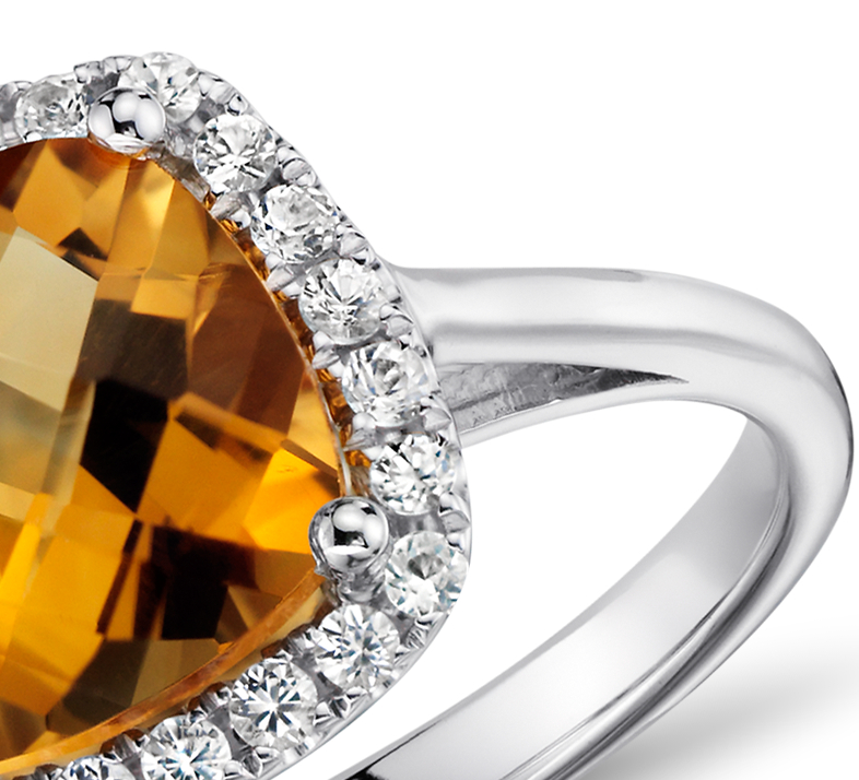 Madeira Citrine and White Sapphire Halo Cushion-Cut Ring in Sterling Silver
