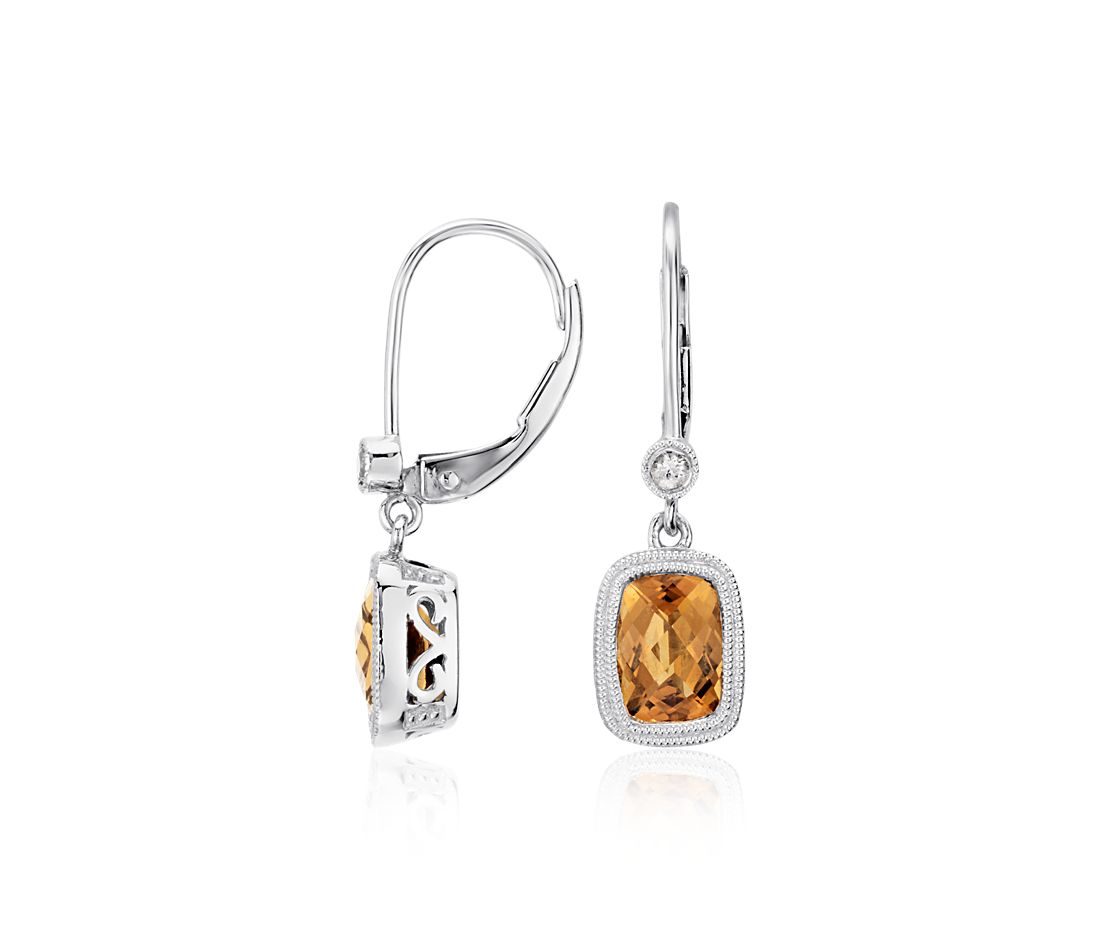 Madeira Citrine and White Sapphire Milgrain Drop Earrings in Sterling Silver (7x5mm)