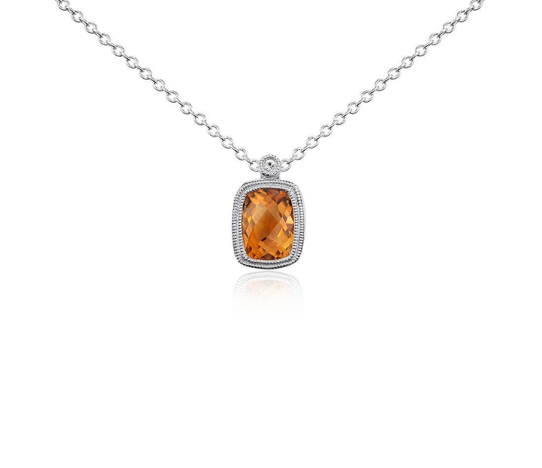 Madeira Citrine and White Sapphire Milgrain Pendant in Sterling Silver (8x6mm)