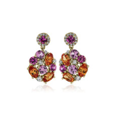 NEW Mandarin Garnet and Pink Sapphire Cluster Drop Earrings in 18k Yellow Gold
