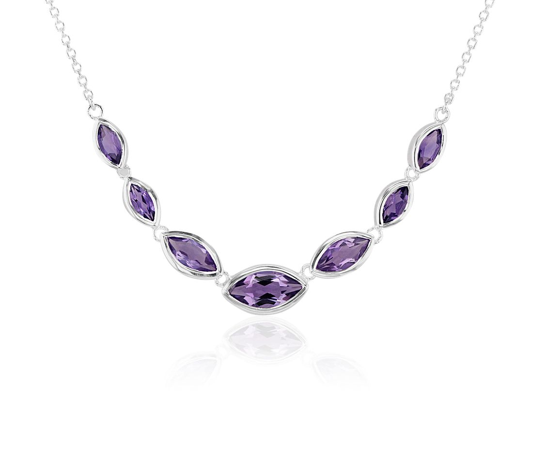 Marquise Amethyst Necklace in Sterling Silver