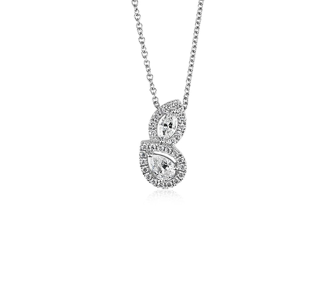 Marquise and Pear Shape Diamond Halo Pendant in 14k White Gold (1/2 ct. tw.)